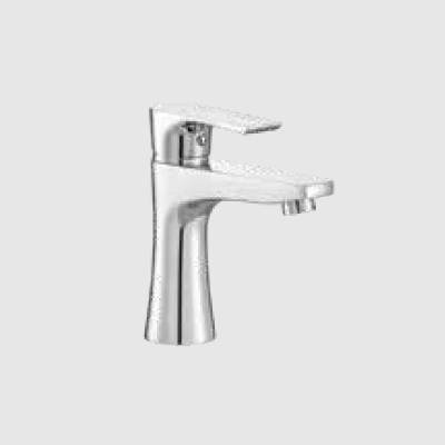 Single lever basin mixer without pop-up waste system