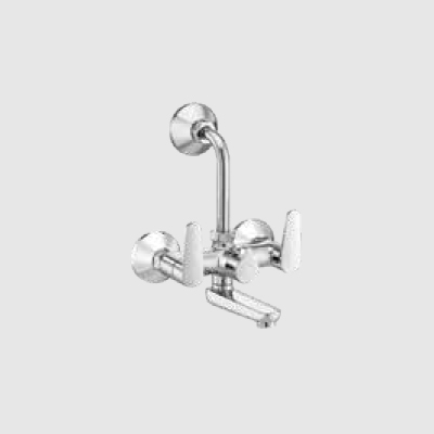 Wall mixer with provision for overhead shower with bend pipe and wall flange