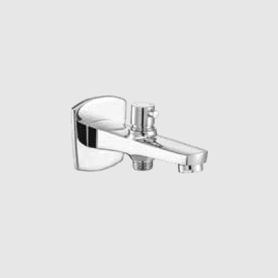 Bath tub spout with button attached